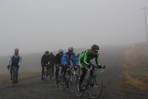 Gran Fondo Ephrata rider coming out of the fog